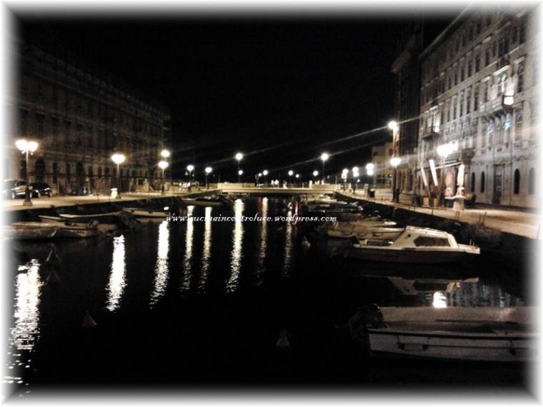 Il Canale di Ponterosso, braccio di mare che lambisce il centro città, in notturna